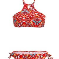 Womens Paisley Boho Hippie Halter Bikini Two Piece Swimsuit Set