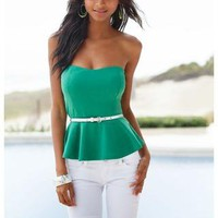 SOLID PEPLUM TUBE TOP