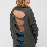 Up the Back Cardigan in Charcoal :: tobi
