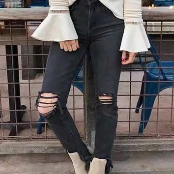 Black Buttons Pockets Cut Out Ripped Destroyed Casual Boyfriend Nine's Jeans