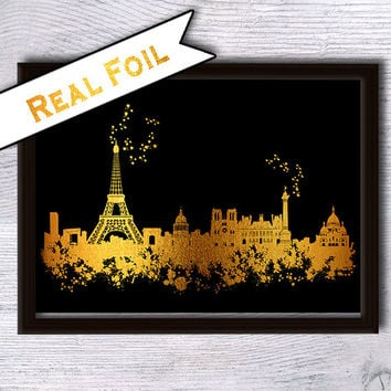 Paris print Paris skyline real foil poster Skyline gold foil print Paris cityscape art poster Home decoration Office wall decor Gift art G38