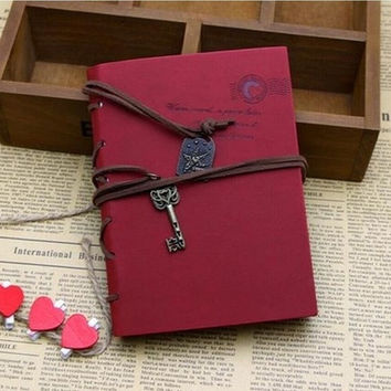 Vintage Magic Key String Classic Leather Notebook Diary Journal Retro Note Book [7637305542]