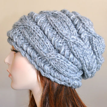 Slouchy Beanie Women Hat Slouch Hats Oversized Baggy CHOOSE COLOR  Gray Cabled Hat Winter Grey Heather Hand Knit Gift