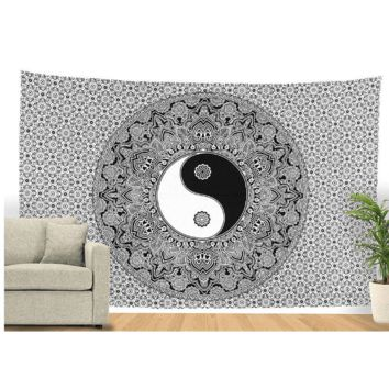 Black & White Lucky Yin and Yang Tapestry, 78x58in