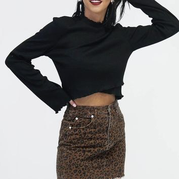 The Sass Brown Leopard Print Denim Skirt