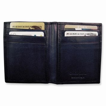 Black/Brown Leather Flip Feature Front Pocket Wallet - Engravable Gift Item