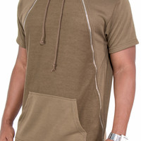French Terry Double Zipper Front Extended Hoodie (Olive)