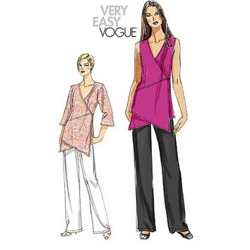 VOGUE TUNIC PATTERN Vogue Pants Pattern Asymmetrical Wrap Tunic Very Easy Vogue 8500 Size 16 to 26 UNCuT Womens Plus Size Sewing Patterns