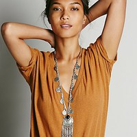 Free People Womens Ebony Coin Layering Necklace