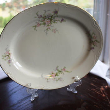 Vintage Homer Laughlin Serving Platter with Pink Flowers and Gold Trim