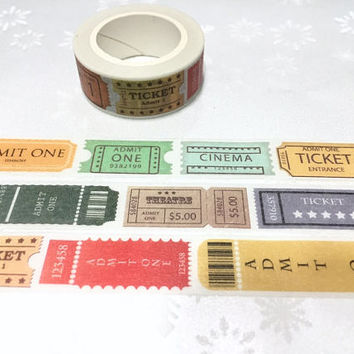 vintage ticket washi tape 7M cinema theatre tickets label postage stamp sticker tape admit one retro cinema decor classic movie decor gift