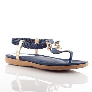 Henry Ferrera Dressed Up Sling Back Bow Thong Sandals - Blue