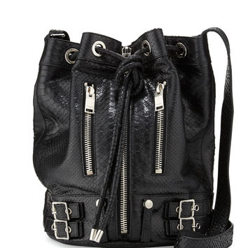 Rider Medium Python-Print Bucket Bag, Black - Saint Laurent