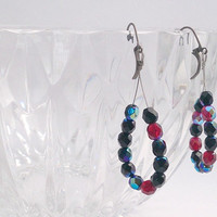 Dark red beaded hoop earrings