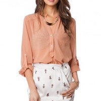 Pure Chiffon Blouse in Tan - ShopSosie.com