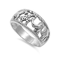 Sterling Silver 10mm Elephant Giraffe Ring (Size 5 - 10)