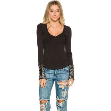 FREE PEOPLE FREE PEOPLE ART SCHOOL CUFF LONG SLEEVE TEE