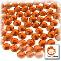 144pc Rhinestones Round 7mm - 34ss flatback Orange