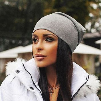 Unisex Solid Color Slough  Beanie