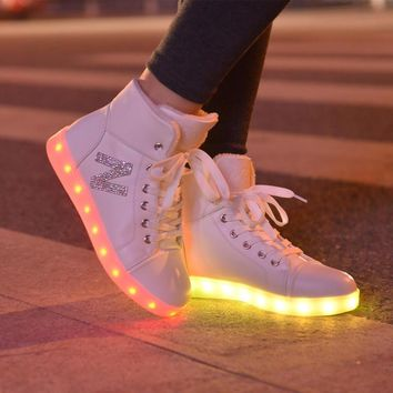 High top girls new shoes simulation women glowing light up basket led luminous shoes a