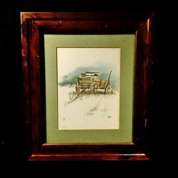 Original Watercolor of County Wagon in Field Signed  Larry Parker Johnson (1943-2015)