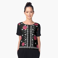 'Ornate Designs with Pink Flowers' Women's Chiffon Top by Greenbaby