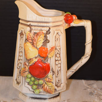 Autumn Fruit Ceramic Pitcher Apple Pear Grapes Orange Fall Leaves Vine Handle Vintage Fall Fruit Pitcher Water Jug Retro Mid Century