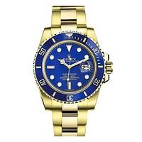 Rolex tide brand fashion men and women fashion watches F-SBHY-WSL Gold + Blue Case + Blue Dial