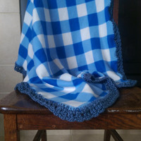 "Blue and White Plaid Fleece with Blue Crochet Edge Baby Boy Blanket 30.5"" X 32"""