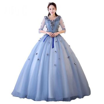 Half Sleeve Princess Dress for Evening Party formal Exquisite Flower Bow Sash Backless