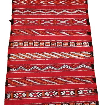 Moroccan Flat Weave Kilim Rug - Hand Woven Zemmour in Red Wool - 52 x 21 inches