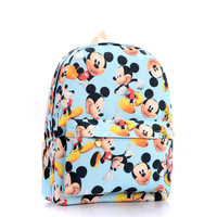 Cute Cartoon Mickey Print Women Canvas Backpacks Children Kids School Book Bags For Teenagers Girls Laptop Bags Printing Mouse