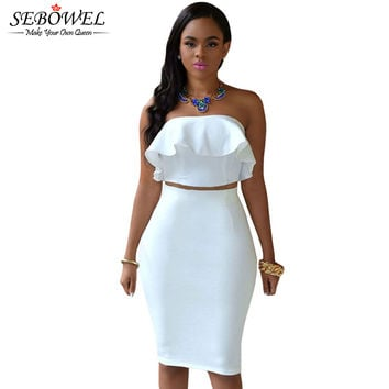 Ruffle Stitching Top Strapless 2 Piece Knee Length Cute Party Dress Set Two Piece Dress Outfits 60602 SM6
