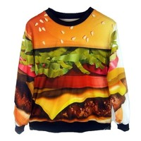 Ideasuke Women's Funny Burger Sexy Pullover Sweatshirts for women