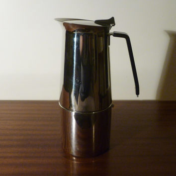 Vintage 1970s Alfa Per Alimenti Stainless Steel Stovetop Espresso Coffee Maker / Italian Made Retro Coffee / Bakelite Handle / Percolator