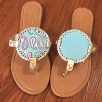 "Simply Southern ""Nauti paisley"" Reversible Flip Flop Sandals -Light Blue"
