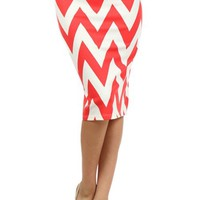 Chevron Print Short Knee Length Pencil Skirt (S170 Chv)
