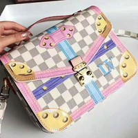 LV Women's Shopping Bag Louis Vuitton White Tartan Lock Bag B-AGG-CZDL White Tartan