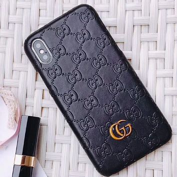 GUCCI simple solid color iPhone 6 case 6S luxury 6plus or iPhone7 tide brand i8X Black