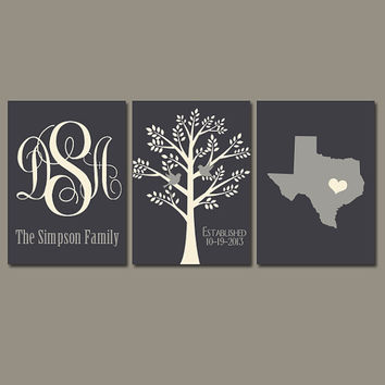 State Family Tree Monogram Wall Art Charcoal Gray Cream Initials Wedding Gift Last Name Date Tree Birds Custom Personalized Set of 3 Prints