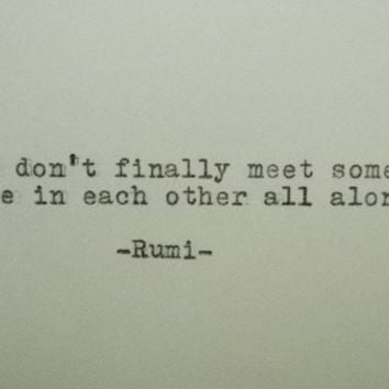 RUMI Love Quote Hand Typed Typewriter Quote Rumi with Vintage Typewriter Art Paper Goods Cards