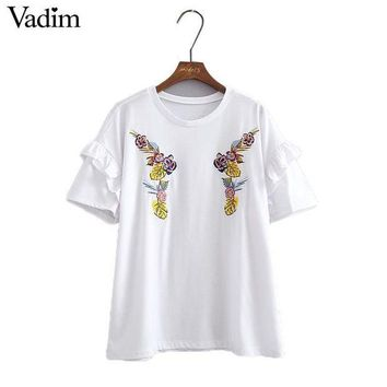 DCCKLW8 Women flower embroidery ruffles loose white T shirt short sleeve o neck regular tees ladies summer casual tops camisetas DT924