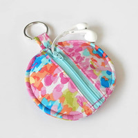 Floral Earbud Holder / Coin Pouch / Floral Coin Purse / Pink Zipper Pouch / Earbud Case / Ear Bud Holder / Small Circle Pouch