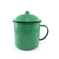 Emerald green enamel grease can with handle and lid