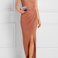 Balmain - Embellished gathered stretch-jersey maxi dress