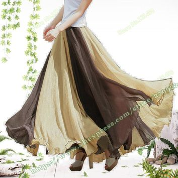 Summer Bohemian fashion Casual Stripe Chiffon Tulle beach Sandy Maxi Skirts Womens / Female Cute Kawaii Long Skirt
