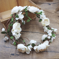 Flower Wreath Girl Head Rose Flower Crown Bridal Hair Accessories Wedding Headband Kid Party Floral garlands Adjustable P655