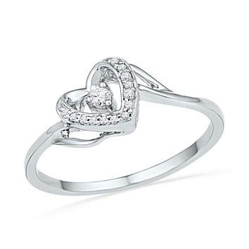 10kt White Gold Women's Round Diamond Heart Love Promise Bridal Ring 1/12 Cttw - FREE Shipping (US/CAN)