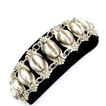 Mexican Silver Coffee Bean Bracelet, Three Dimensional Links, Handcrafted Ornate Scrolls, Chunky Statement Bracelet, Vintage Gift for Her