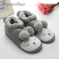 Cute Sheep Warm Winter Women/men Couples Home Slippers For Indoor House Bedroom Plush Shoes Soft Bottom Flats Christmas Gift